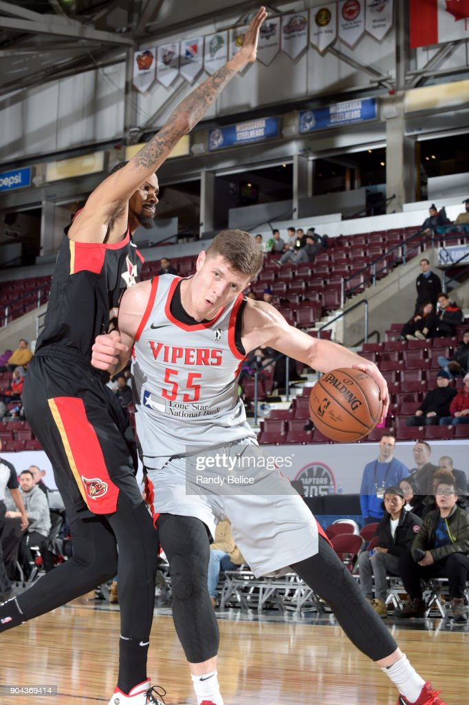 Isaiah Hartenstein #55 of the Rio Grande Valley Vipers handles the ball against the Erie BayHawks during NBA G-League Showcase Game 21 on January 12, 2018 at the Hershey Centre in Mississauga, Ontario Canada.
