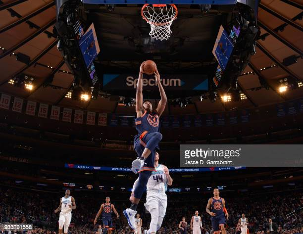 Isaiah Hicks of the New York Knicks goes up for the dunk against the Charlotte Hornets at Madison Square Garden on March 17 2018 in New YorkNew York...
