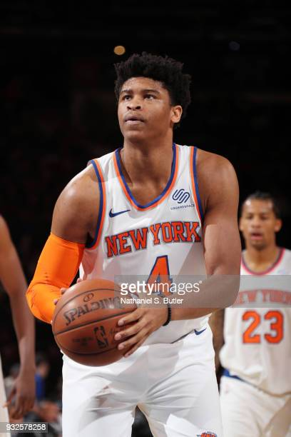 Isaiah Hicks of the New York Knicks shoots a free throw during the game against the Philadelphia 76ers on March 15 2018 at Madison Square Garden in...