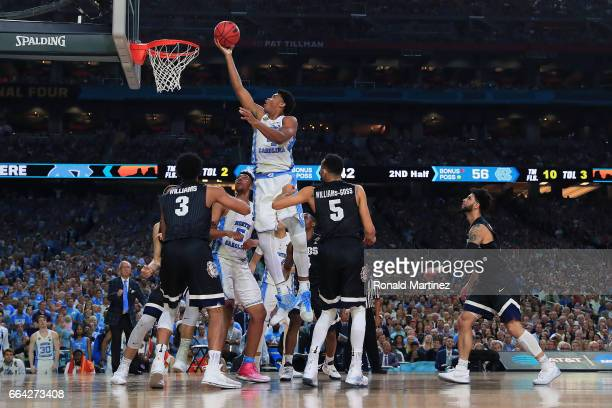 Isaiah Hicks of the North Carolina Tar Heels attempts a shot against the Gonzaga Bulldogs during the 2017 NCAA Men's Final Four National Championship...