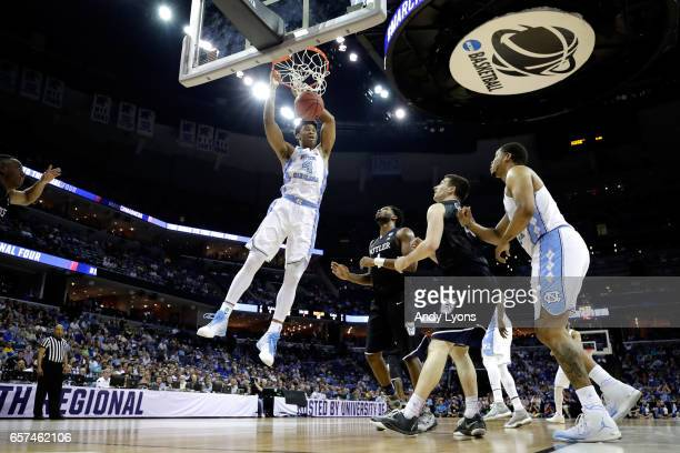 Isaiah Hicks of the North Carolina Tar Heels dunks in the first half against the Butler Bulldogs during the 2017 NCAA Men's Basketball Tournament...