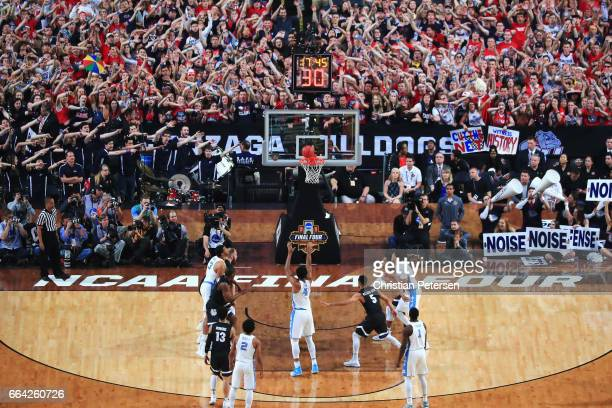 Isaiah Hicks of the North Carolina Tar Heels shoots a free throw against the Gonzaga Bulldogs as fans look on in the first half during the 2017 NCAA...