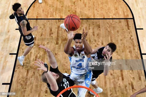 Isaiah Hicks of the North Carolina Tar Heels shoots against Przemek Karnowski of the Gonzaga Bulldogs in the second half during the 2017 NCAA Men's...