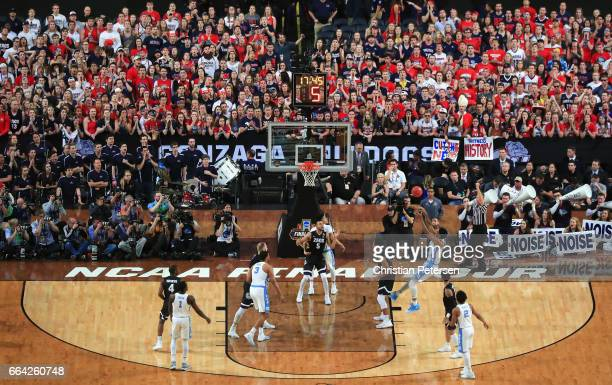 Isaiah Hicks of the North Carolina Tar Heels shoots in the first half against the Gonzaga Bulldogs during the 2017 NCAA Men's Final Four National...
