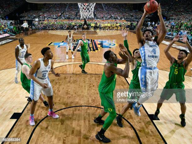 Isaiah Hicks of the North Carolina Tar Heels takes a jumpshot during the 2017 NCAA Men's Final Four Semifinal against the Oregon Ducks at University...