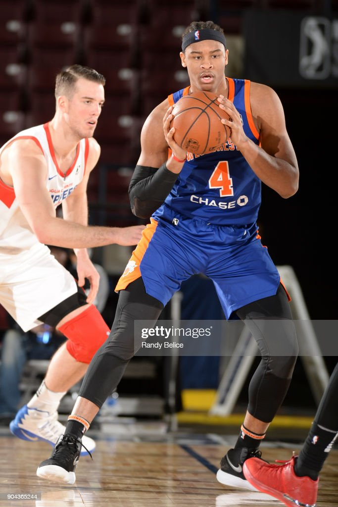 Isaiah Hicks #4 of the Westchester Knicks handles the ball against the Agua Caliente Clippers at NBA G League Showcase Game 19 on January 12, 2018 at the Hershey Centre in Mississauga, Ontario Canada.