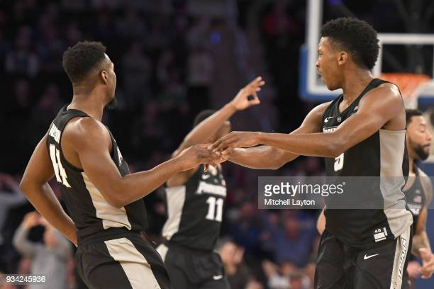Isaiah Jackson and Jalen Lindsey of the Providence Friars celebrate a basket during the quarterfinal round the Big East Men's Basketball Tournament...