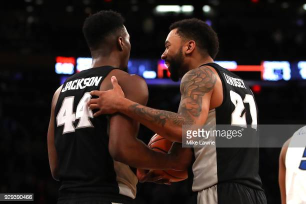 Isaiah Jackson and Jalen Lindsey of the Providence Friars react late in the game against the Creighton Bluejays during the Big East basketball...