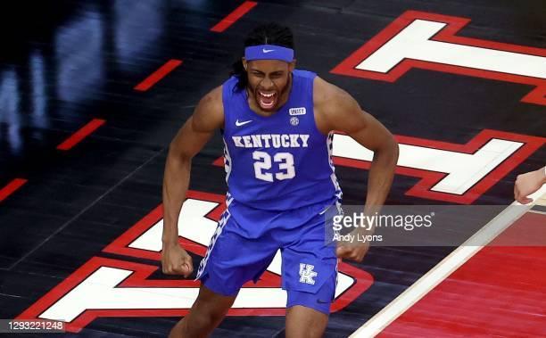 Isaiah Jackson of the Kentucky Wildcats celebrates against the Louisville Cardinals at KFC YUM! Center on December 26, 2020 in Louisville, Kentucky.