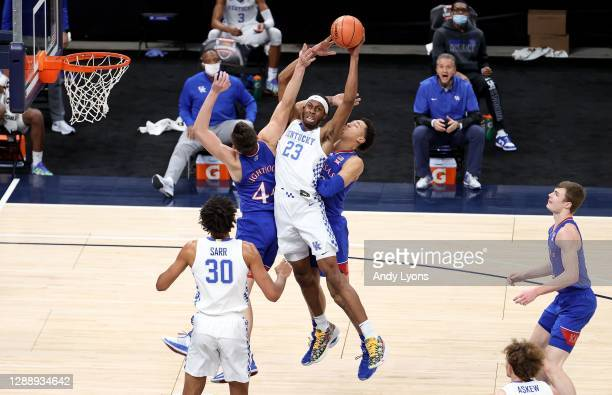 Isaiah Jackson of the Kentucky Wildcats grabs a rebound against the Kansas Jayhawks in the State Farm Champions Classic at Bankers Life Fieldhouse on...