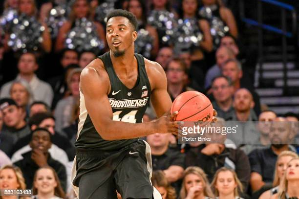 Isaiah Jackson of the Providence Friars dribbles against the Washington Huskies during the 2K Classic at Madison Square Garden on November 16 2017 in...