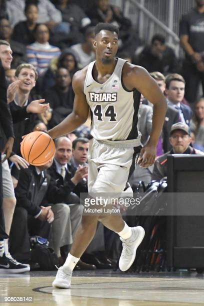 Isaiah Jackson of the Providence Friars dribbles the ball during a college basketball game against the Providence Friars at Duncan' Donut Center on...