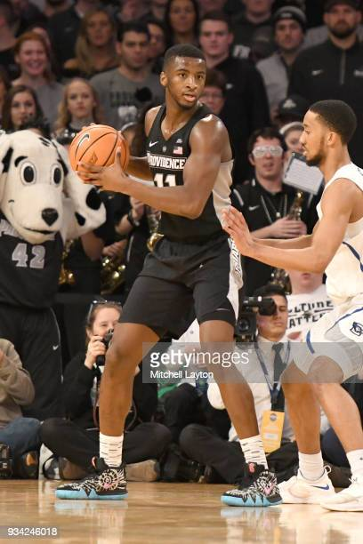 Isaiah Jackson of the Providence Friars looks to pass the ball during the quarterfinal round the Big East Men's Basketball Tournament against the...
