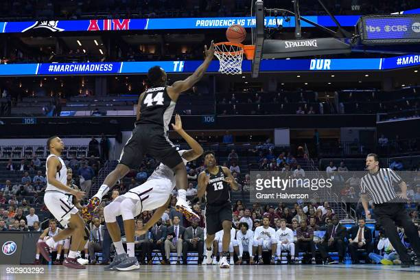 Isaiah Jackson of the Providence Friars puts up a shot against the Texas AM Aggies in the first round of the 2018 NCAA Men's Basketball Tournament...