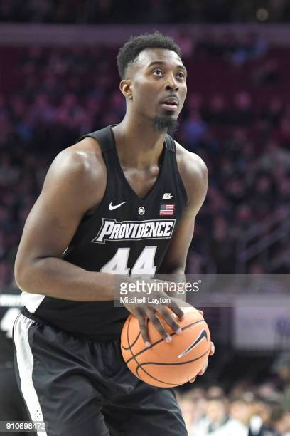 Isaiah Jackson of the Providence Friars takes a foul shot during a college basketball game against the Villanova Wildcats at the Wells Fargo Arena on...