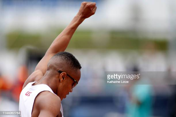 Isaiah Jewett of the University of Southern California reacts to his win in the men's 800 meter run on the second day of the 61st Mt SAC Relays at...