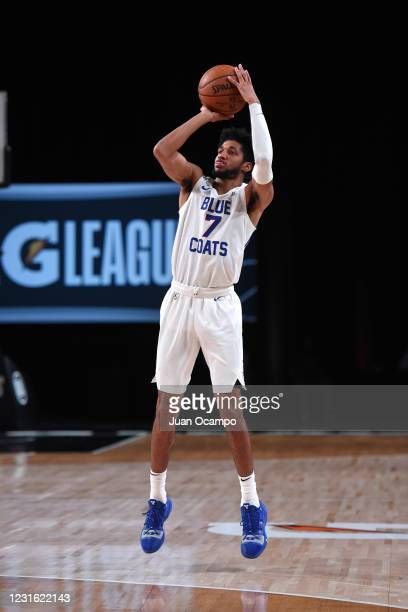 Isaiah Joe of the Delaware Blue Coats shoots three point basket against the Raptors 905 during the NBA G League Playoffs on March 9, 2021 at...