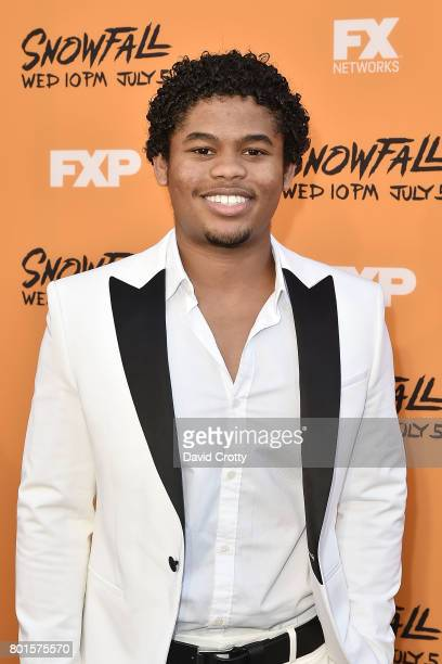 """Isaiah John attends the Premiere Of FX's """"Snowfall"""" - Arrivals at The Theatre at Ace Hotel on June 26, 2017 in Los Angeles, California."""