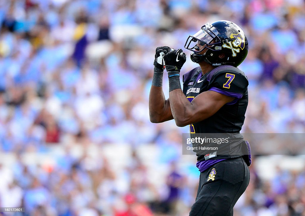 Isaiah Jones #7 of the East Carolina Pirates reacts during a win over the North Carolina Tar Heels at Kenan Stadium on September 28, 2013 in Chapel Hill, North Carolina. East Carolina won 55-31.