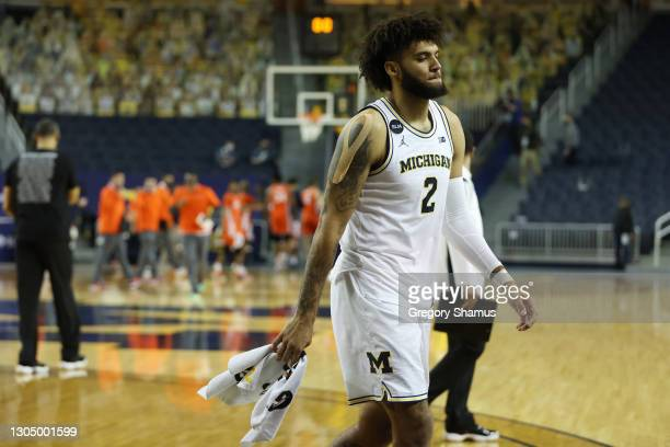 Isaiah Livers of the Michigan Wolverines leaves the floor after a 76-53 loss to the Illinois Fighting Illini at Crisler Arena on March 02, 2021 in...