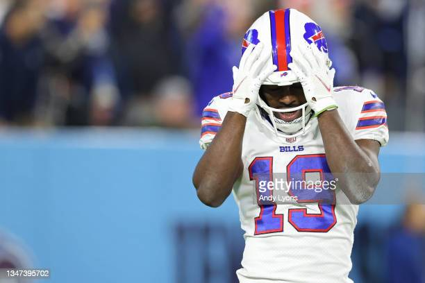 Isaiah McKenzie of the Buffalo Bills reacts after his kick-off return touchdown was called back on a holding penalty against the Tennessee Titans...