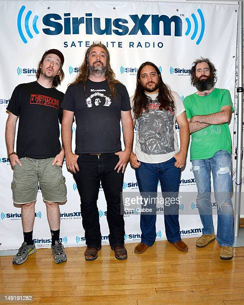 Isaiah Mitchell Cyrus Comiskey Raj Ojha and Ethan Miller of Howlin Rain visit the SiriusXM Studios on July 24 2012 in New York City