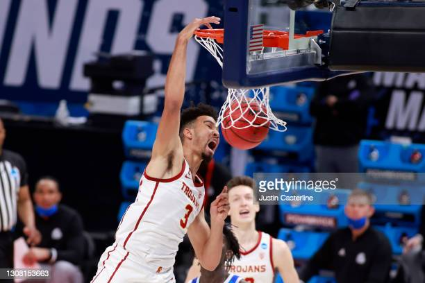 Isaiah Mobley of the USC Trojans dunks the ball in the game against the Drake Bulldogs during the first half in the NCAA Basketball Tournament First...