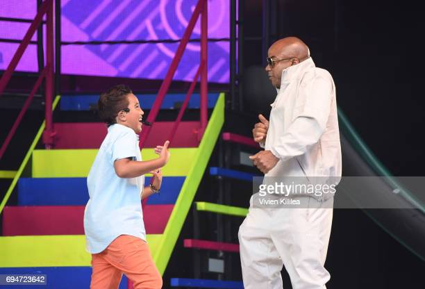 Isaiah Morgan of KIDZ BOP performs during the Dad Dance at The KIDZ BOP Kids 'Best Time Ever' Tour At The Greek Theatre LA on June 10 2017 in Los...