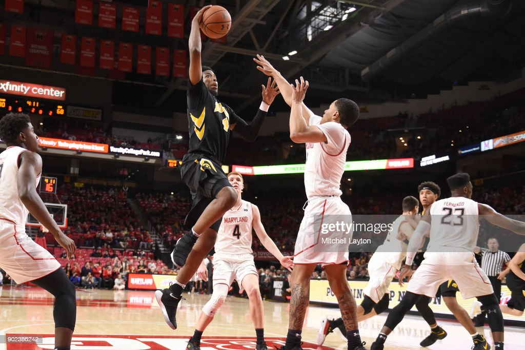 Isaiah Moss #4 of the Iowa Hawkeyes drives to the basket during a college basketball game against the Maryland Terrapins at the XFinity Center on January 7, 2018 in College Park, Maryland.