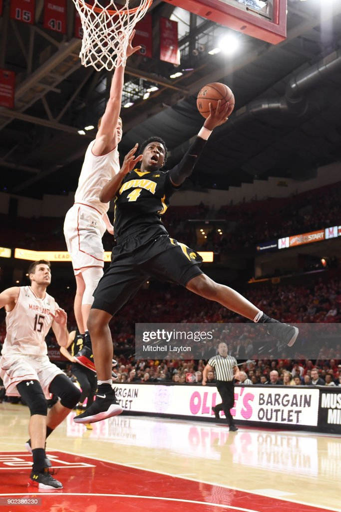 Isaiah Moss #4 of the Iowa Hawkeyes drives tot he basket during a college basketball game against Maryland Terrapins at the XFinity Center on January 7, 2018 in College Park, Maryland.