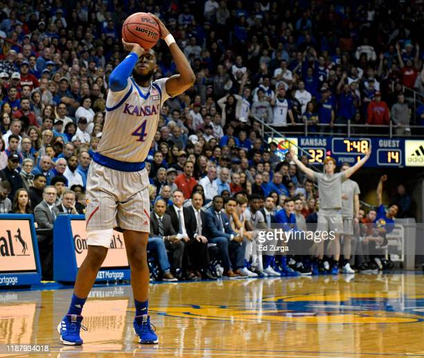 Isaiah Moss of the Kansas Jayhawks takes a shot Monmouth Hawks in the first half at Allen Fieldhouse on November 15, 2019 in Lawrence, Kansas.