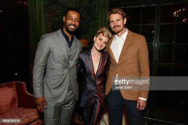 Isaiah Mustafa AJ Michalka and Josh Pence attend the Gersh Upfronts Party 2018 at The Bowery Hotel on May 15 2018 in New York City