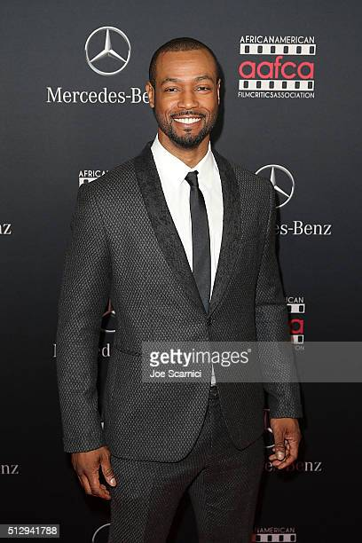 Isaiah Mustafa arrives at the MercedesBenz and African American Film Critics Association Oscar viewing party at Four Seasons Hotel Beverly Hills on...