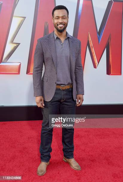 """Isaiah Mustafa attends Warner Bros. Pictures And New Line Cinema's World Premiere Of """"SHAZAM!"""" at TCL Chinese Theatre on March 28, 2019 in Hollywood,..."""