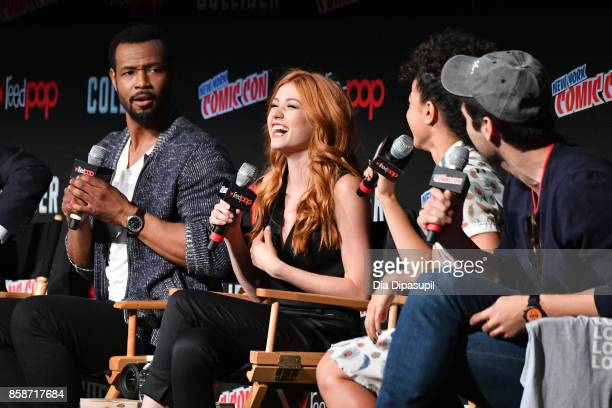 Isaiah Mustafa Katherine McNamara Alisha Wainwright and Matthew Daddario speak at the Shadowhunter panel during 2017 New York Comic Con Day 3 on...