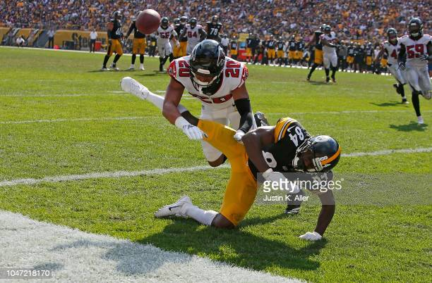 Isaiah Oliver of the Atlanta Falcons breaks up a pass intended for Antonio Brown of the Pittsburgh Steelers in the second half during the game at...