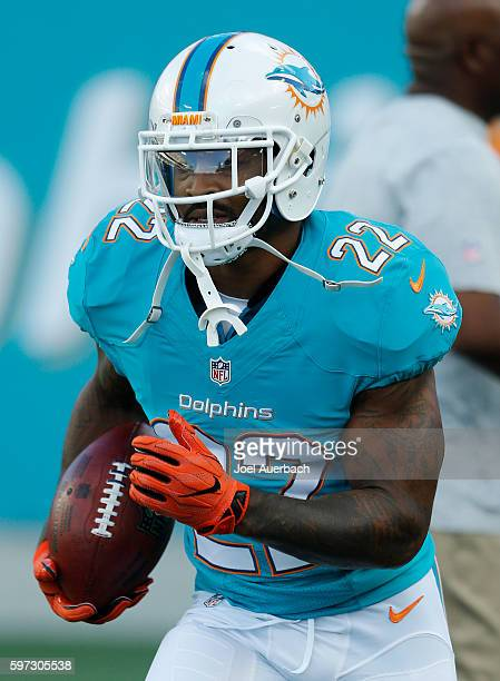 Isaiah Pead of the Miami Dolphins runs with the ball prior to the preseason game against the Atlanta Falcons on August 25 2016 at Camping World...