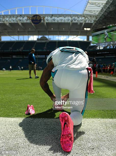 Isaiah Pead of the Miami Dolphins warms up during a game against the Tennessee Titans on October 9 2016 in Miami Gardens Florida
