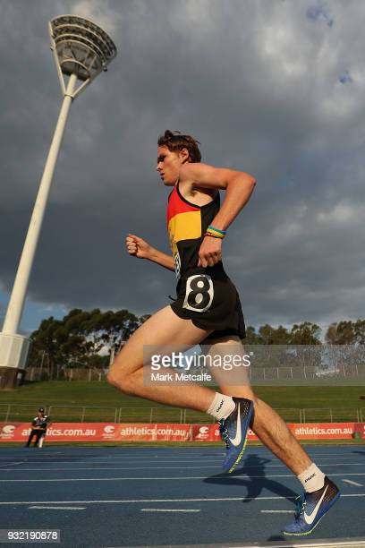 Isaiah Priddey of New Zealand runs in the Men's Under 20 1500m during day two of the Australian Junior Athletics Championships at Sydney Olympic...