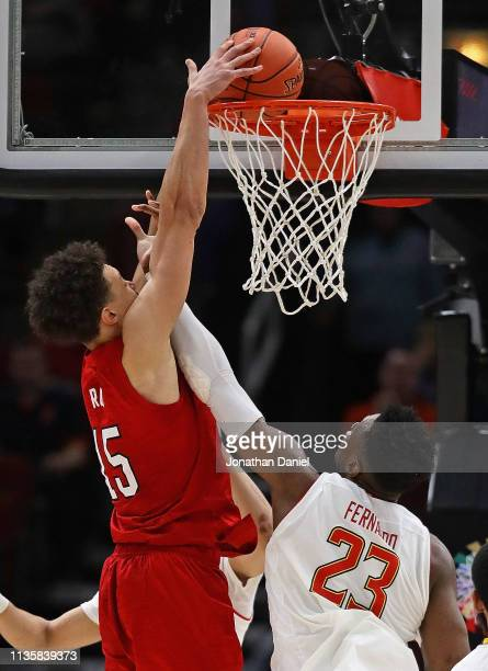 Isaiah Roby of the Nebraska Cornhuskers dunks over Bruno Fernando of the Maryland Terrapins at the United Center on March 14 2019 in Chicago Illinois...