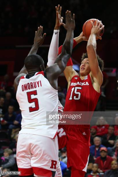 Isaiah Roby of the Nebraska Cornhuskers in action against Eugene Omoruyi of the Rutgers Scarlet Knights during a game at Rutgers Athletic Center on...