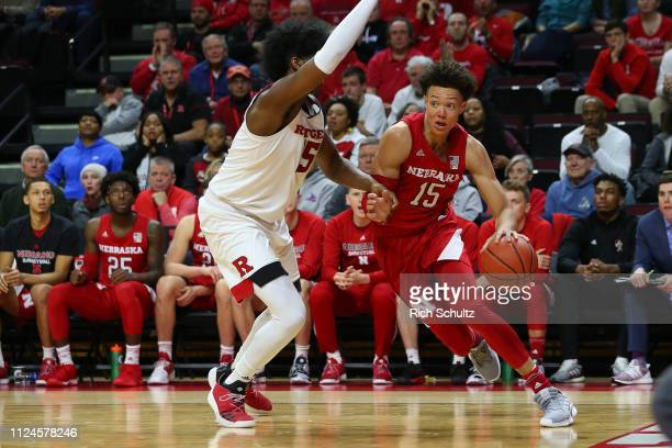 Isaiah Roby of the Nebraska Cornhuskers in action against Myles Johnson of the Rutgers Scarlet Knights during a game at Rutgers Athletic Center on...