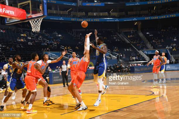 Isaiah Roby of the Oklahoma City Thunder shoots the ball against the Golden State Warriors on April 8, 2021 at Chase Center in San Francisco,...