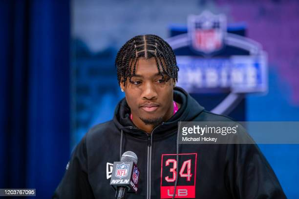 Isaiah Simmons #LB34 of the Clemson Tigers speaks to the media on day three of the NFL Combine at Lucas Oil Stadium on February 27 2020 in...