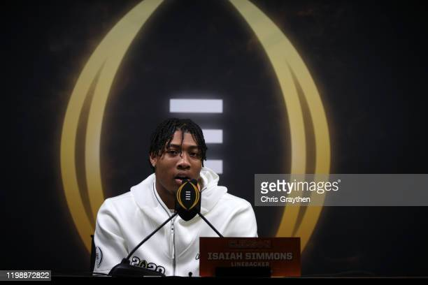 Isaiah Simmons of the Clemson Tigers attends media day for the College Football Playoff National Championship on January 11, 2020 in New Orleans,...