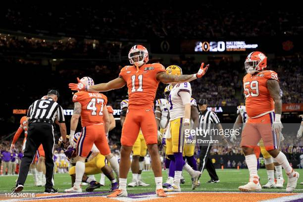 Isaiah Simmons of the Clemson Tigers celebrates a defensive stop against the LSU Tigers during the first quarter in the College Football Playoff...