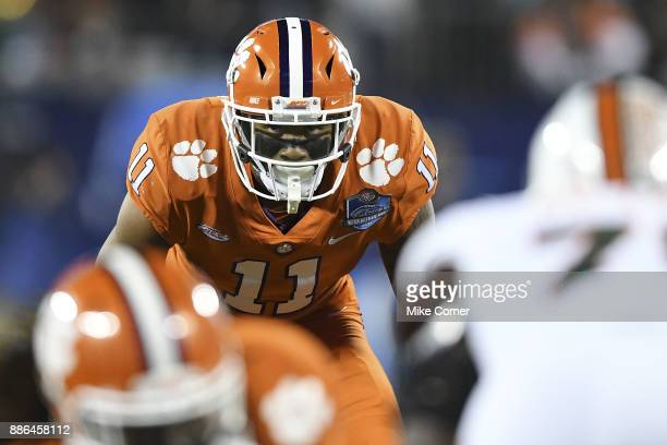 Isaiah Simmons of the Clemson Tigers lines up against the Miami Hurricanes during the ACC Football Championship at Bank of America Stadium on...