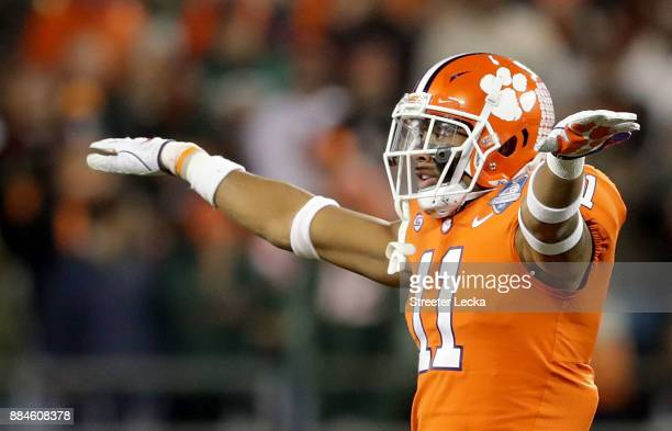 Isaiah Simmons of the Clemson Tigers reacts after a pass break up against the Miami Hurricanes in the second quarter during the ACC Football...
