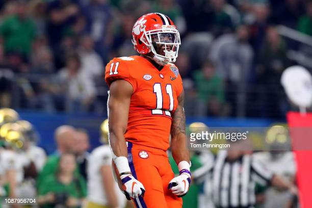Isaiah Simmons of the Clemson Tigers reacts after a play in the first half against the Notre Dame Fighting Irish during the College Football Playoff...