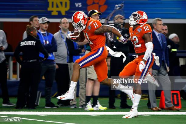 Isaiah Simmons of the Clemson Tigers reacts after a play in the second half against the Notre Dame Fighting Irish during the College Football Playoff...